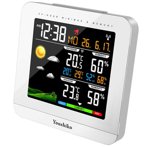 Youshiko Wireless Colour Weather Station ( Premium Quality / HD Display ) with Radio Controlled Clock ( UK Version ) , Indoor Outdoor Temperature Thermometer, Humidity, Date & Frost Alarm , Maximum & Minimum with 24 Hour Auto Reset