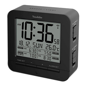 Youshiko YC740 Digital Radio Controlled Alarm Clock with 4 Alarm Times & Automatic backlight with light sensor
