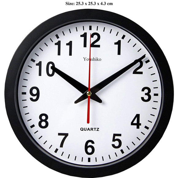 Stylish Black & White Bold Classic Quartz Wall Clock Non Ticking Silent
