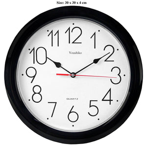 Stylish Black & White Classic Quartz Wall Clock Non Ticking Silent, 12 inches  YC5011