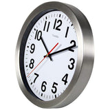 Large Bold Quartz Metal Frame Glass Cover Lens Wall Clock, 12'' Non Ticking Silent