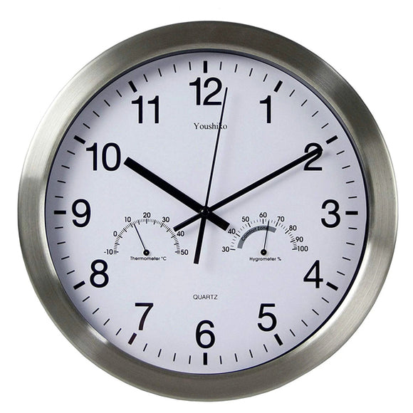 Large Bold Quartz Metal Wall Clock with Temprature & Humidity, 12'' Non Ticking Silent Sweeping Seconds, Home/Kitchen/Office/School Clock, Easy to Read