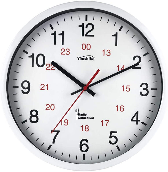 Radio Controlled Wall Clock (Official UK & Ireland Version), Premium Quality, White Metal Case 30cm