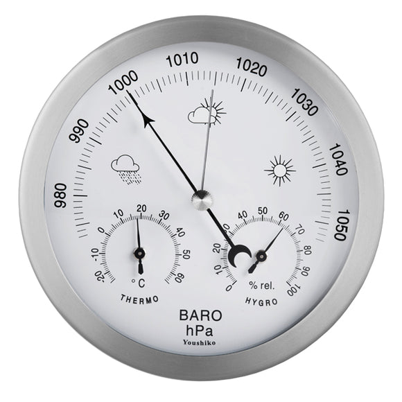 Youshiko 3 in 1 Weather Station for Indoor and Outdoor use , diameter 14 cm , Barometer Thermometer Hygrometer with stainless steel frame