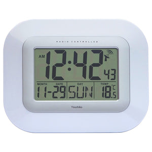 Radio Controlled LCD Wall Mountable and Desk Clock - YC8020