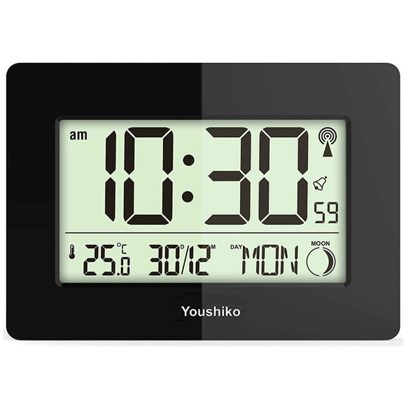 Radio Controlled LCD Wall Mountable and Desk Clock ( Black  )