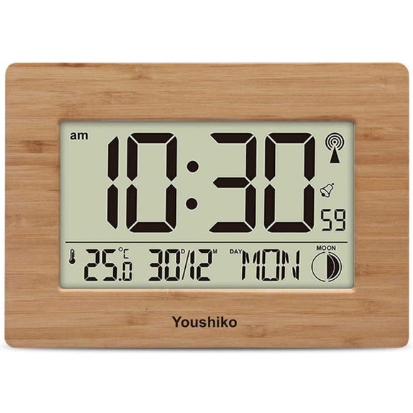 Radio Controlled LCD Wall Mountable and Desk Clock ( Bamboo Wood Panel   )