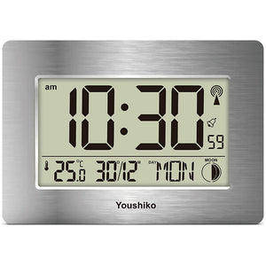 Radio Controlled LCD Wall Mountable and Desk Clock ( Silver )