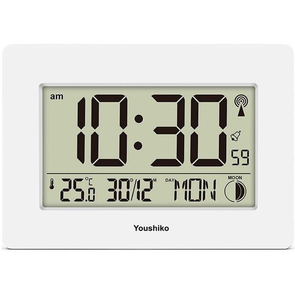 Radio Controlled LCD Wall Mountable and Desk Clock ( White  )