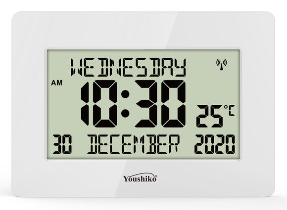 Radio Controlled Silent Large LCD Wall Clock ( Official UK Version) Auto Set Up with Day Date Month Helpful for DEMENTIA & ALZHEIMER SUFFERERS