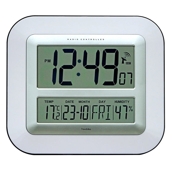 Jumbo LCD Radio Controlled Wall Clock with Temperature and Humidity display YC8050