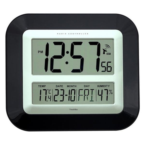 Jumbo LCD Radio Controlled Wall Clock with Temperature and Humidity display YC8055