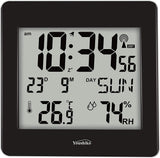 Large Jumbo LCD Radio Controlled Wall Clock  with Temperature and Humidity display  YC8058