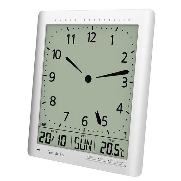 Radio Control Large LCD  Digital Analog  Style Wall Clock