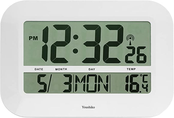 Youshiko Extra Large XXXL Jumbo Radio Controlled Digital Silent Wall Clock (Official UK Version) XXL Bold Time Digits (Clock Size: 46 x 32.5 x 3 cm)
