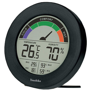 Youshiko Digital Thermometer Hygrometer with Comfort Level Display & Maximum and Minimum ( 24 Hour Auto Reset )