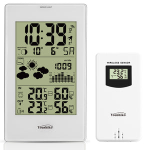 YC9331 Wireless Weather Station, (Official UK Version) Radio Controlled Clock Indoor Temperature Humidity, Barometric Pressure,