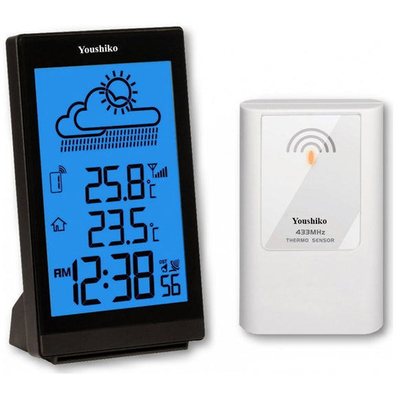 Weather Station with Radio Controlled Clock Indoor Outdoor Temperature Thermometer