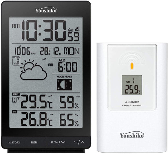 Youshiko YC9342 Wireless Weather Station ( Premium Quality  ) with Radio Controlled Clock