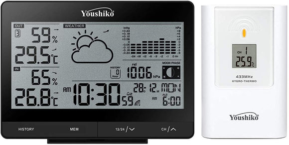 Youshiko YC9352 Wireless Weather Station ( Premium Quality  ) with Radio Controlled Clock