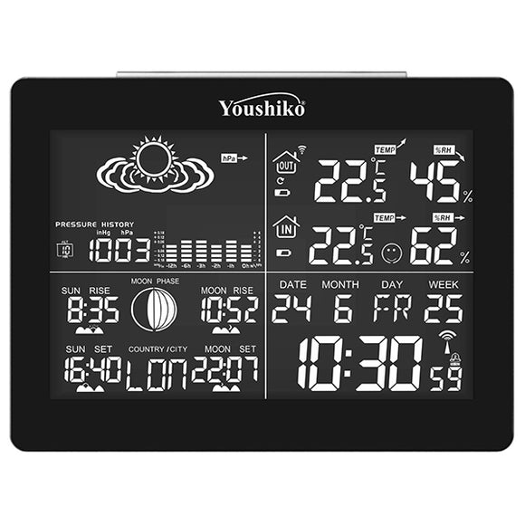 Youshiko YC9361 digital weather station with radio controlled clock (Official UK version), indoor outdoor temperature humidity, sunrise, sunset, moonrise, moonset times, barometric pressure