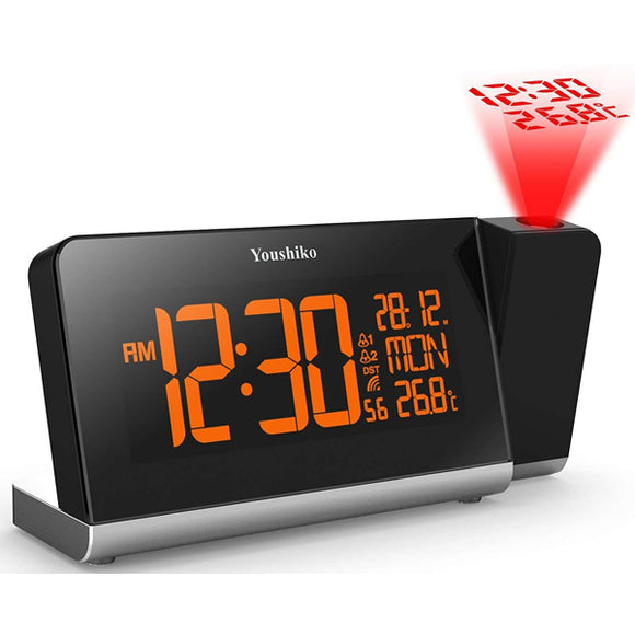 Youshiko Radio Control Projection Clock ( Premium Quality / LCD HD Display / Official UK Version ) with Colour Changing Display , Dual alarm and indoor temprature