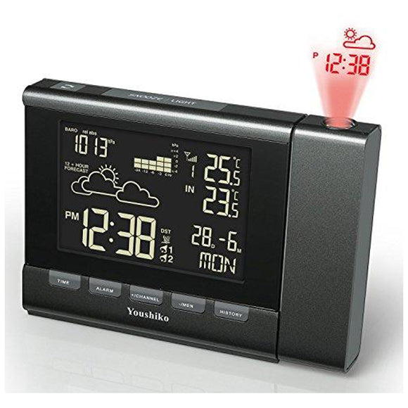 Youshiko Weather Station ( Premium Quality / LCD HD Display / Official UK Version Radio Control ) Projection Alarm Clock , Colour Changing Display, Indoor Outdoor Temperature Thermometer, Barometric pressure reading
