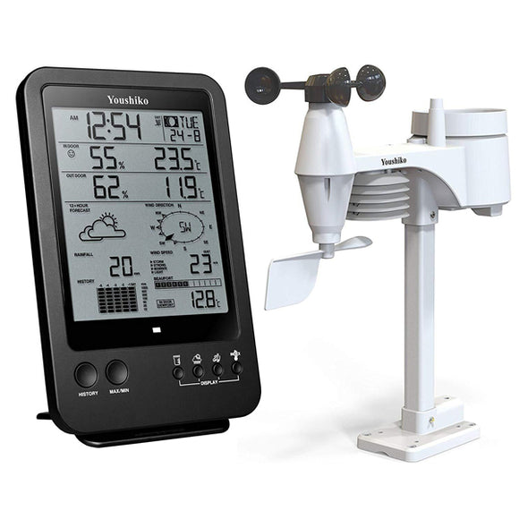 Weather Station with Radio Control Clock & 5-in-1 Wireless Sensor ( Wind speed & direction, Rainfall, Temperature & Humidity )
