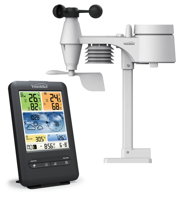 YOUSHIKO YC9387 ( T )  WEATHER STATION ( PREMIUM QUALITY / OFFICIAL UK VERSION ) WIFI INTERNET WUNDERGROUND & WEATHERCLOUD , PROFESSIONAL 5-IN-1 WIRELESS SENSOR, WIND SPEED & DIRECTION, RAINFALL, TEMPERATURE, HUMIDITY