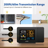 Youshiko Radio Control (Official MSF UK Version) Projection Alarm Clock Outdoor Sensor, Weather Station, Bedroom Projector Dimmable Clock Dual Alarms LCD Display Date Time Temperature Humidity