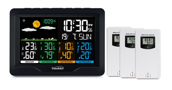 Youshiko YC9443 with 3 Outdoor Wireless Sensors Weather Station, Radio Controlled Clock (Official UK Version), Indoor Outdoor Temperature Thermometer, Humidity, Barometric Pressure