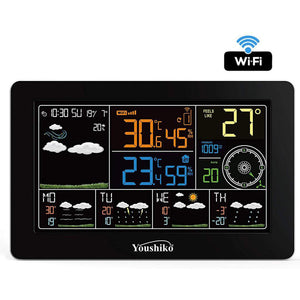 Youshiko WiFi Weather Station, (Offical UK Version) Indoor Outdoor Temperature Thermometer, Humidity, Barometric Pressure, Wind direction & Speed, Outdoor Feels Like.