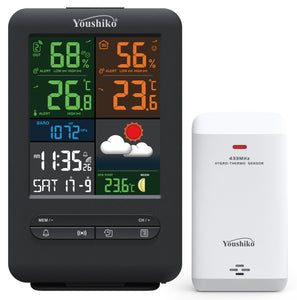 Youshiko YC9481 Wireless Weather Station , Radio Controlled Clock ( Official UK Version / Premium Quality)