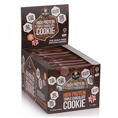 Dr Zak's High Protein Cookie 12 x 60g - NutriVault