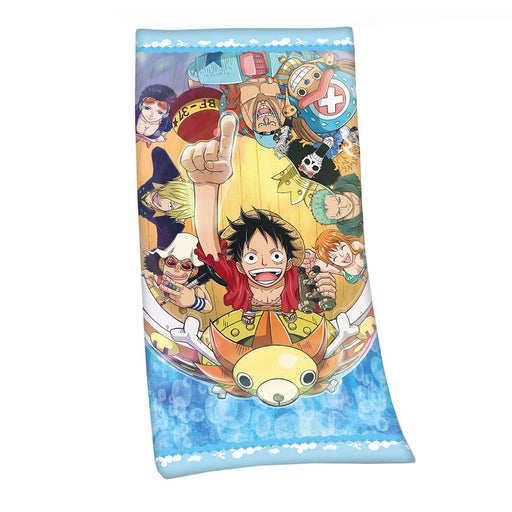 One Piece Velour Towel Straw Hat Pirates 75 x 150 cm
