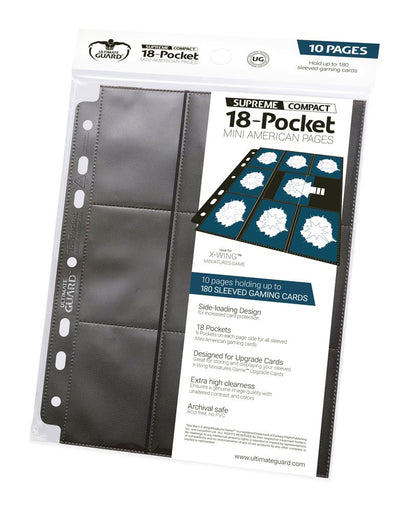 Ultimate Guard 18-Pocket Compact Pages Mini American Black (10) (UGD010494)