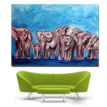 1 Panels Artwork High Quality Modern Wall Art On Canvas Animal Oil Painting Cute Elephant Hang Pictures Room Decor