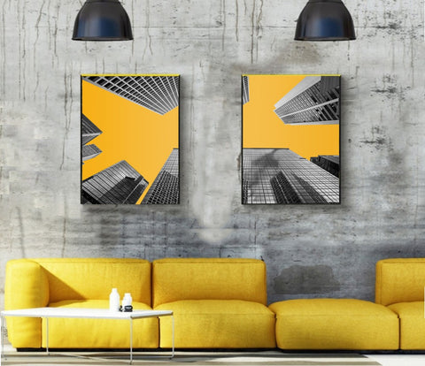2 Pcs/set Cityscape Nordic hot sale Canvas Print Painting Modern black white Landscape Building Yellow bottom Art HD Picture