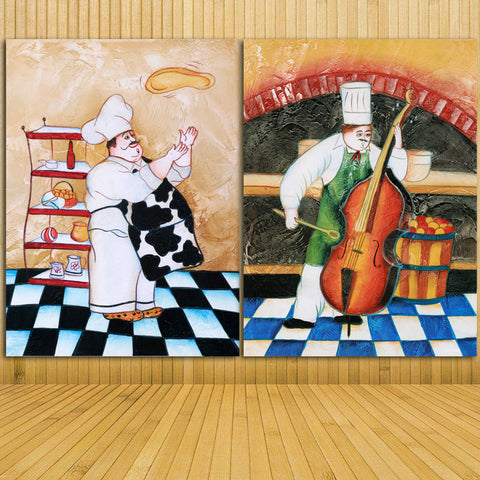 2 Piece Canvas Painting Ancient Kitchen Cooker Happy Chef Home Decoration Wall Pictures For Living Room Canvas Prints unframed