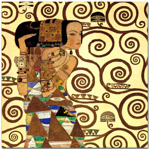2 panel Lady with Fan Gustav Klimt 1917-1918 Wall Painting picture leaf Home Decorative Art Picture Paint on Canvas Prints