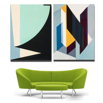2 pcs / set artist printed canvas Geometry paintings abstrato quadro painting Modular Pictures black and white painting