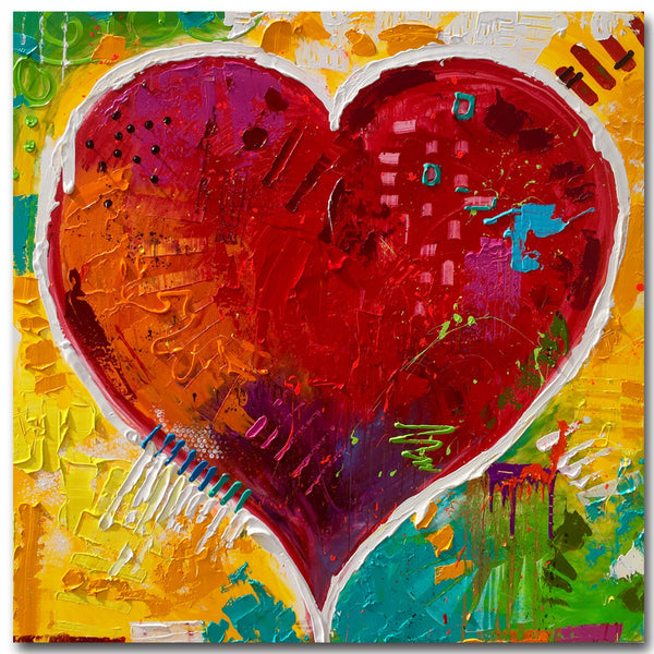 Children printed painting abstract contemporary painting wall decoration red heart picture for living room decoration