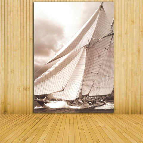 2017 prints on canvas Painting sailboat Nostalgic retro black and white sailboat seascape Wall stickers home decor