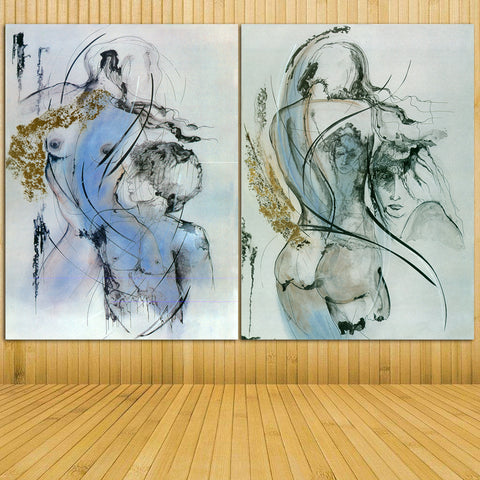 2pcs Abstract Art Canvas Painting Sexy Girl Pictures Two Colors Wall Art Prints For Living Room Abstract Wall Pictures Unframed