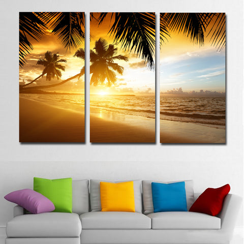 3 Panel Sea Coast Beach Tropics Palms Trees Sunrise Canvas Painting Printing Poster Cuadro For Home Wall Decor Living Room