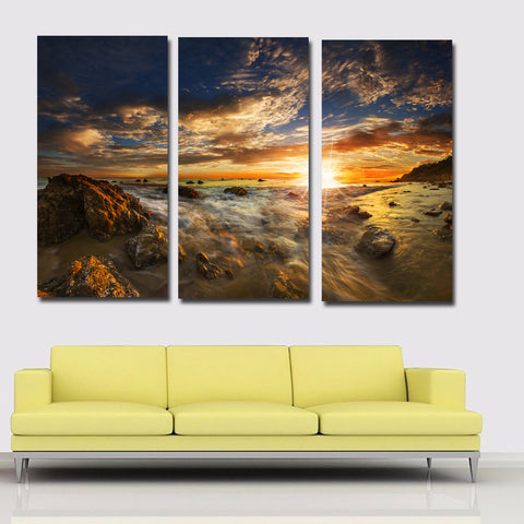3 Panel USA Sea Coast Sunsets Stone Sky Scenery Painting Printing Poster Cuadro For Home Decor Wall Art Print Living Room