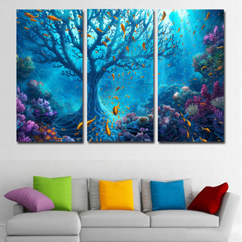 3 Panel Underwater World Corals Fish Trees Canvas Painting Printing Poster Cuadro For Home Decor Wall Art Print Living Room