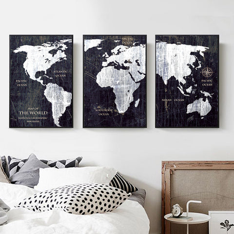 3 Panel Watercolor World Map Painting HD Canvas Print Landscape Modular Wall Painting Sofa Photo Art For bedroom decoration