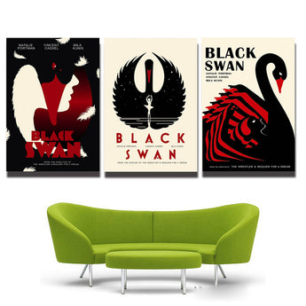 3 Panel beautiful black swan cartoon Animal and letters Wall Decor Canvas Poster Printed paintings free shipping
