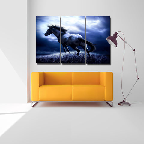 3 Pcs/set Abstract Animal Wall Art Pictures Running Horse Blue Background For Living Room Home Decor Canvas Painting No Frame